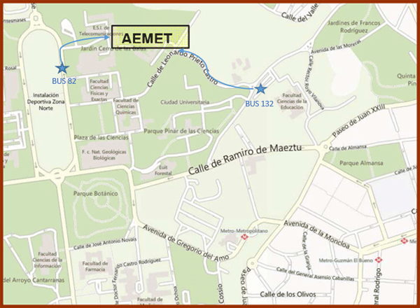 How to reach AEMET headquarters (detailed map)