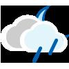 Nuboso con lluvia escasa de noche