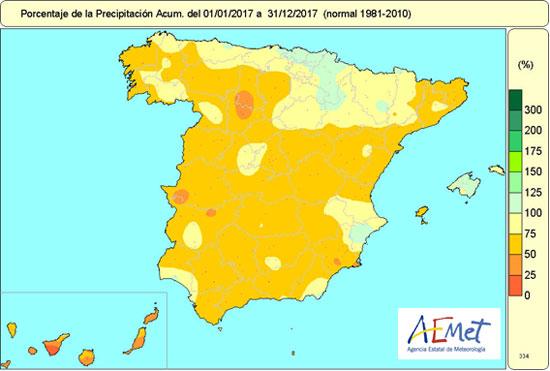 Porcentaje de la precipitación acumulada en 2017 respecto al valor normal