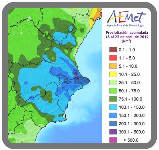 Figura 2, precipitación acumulada del 18 al 22 de abril de 2019 (l/m2)
