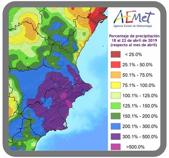 Figura 3, porcentaje de precipitación acumulada del 18 al 22 de abril de 2019 respecto de un mes de abril típico