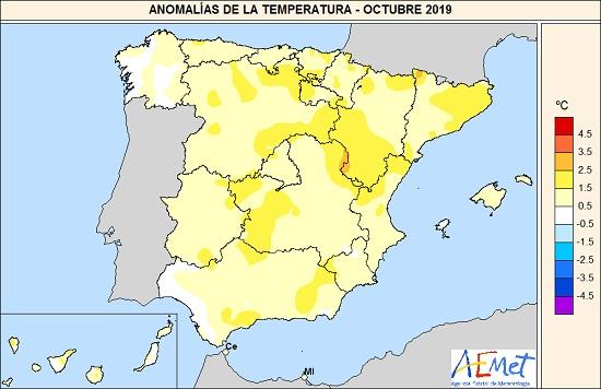 Anomalías de la temperatura del mes de octubre de 2019 en relación al periodo normal (1981-2010)