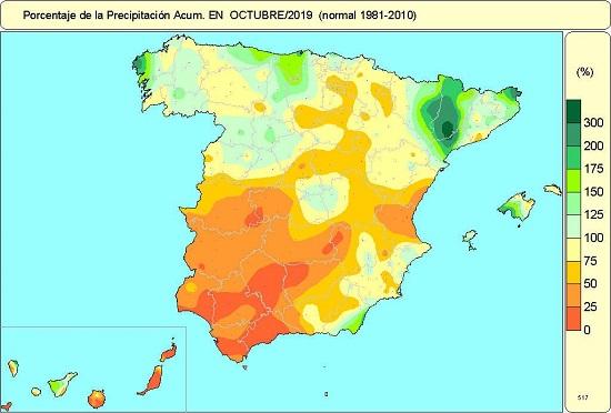 Porcentaje de precipitación acumulada en octubre de 2019 en relación al periodo normal (1981-2010)