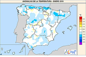 Enero de 2019, normal en temperaturas y precipitaciones